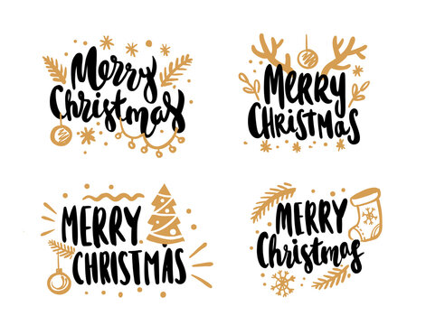 Merry Christmas calligraphic vector lettering text design cards set.