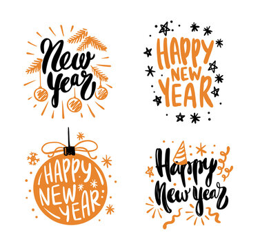 Happy New Year calligraphic vector lettering text design cards set.