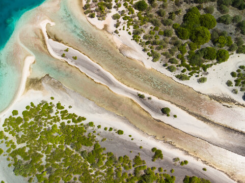 Satellite Aerial shot of channel between two islands in Pacific atoll of Orona