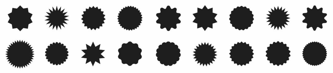Fototapeta Set of red price sticker. Sale sticker collection. Set of red starburst, sunburst badges. Label icon sticker. Badge. Design elements - best for sale sticker, price tag, quality. Vector illustraton obraz