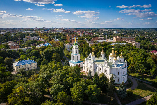Aerial view to The Assumption Cathedral and his bell tower in Poltava
