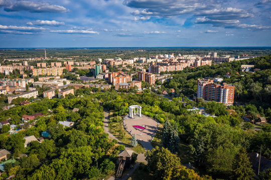 aerial view to White rotunda in Poltava city with cityscape