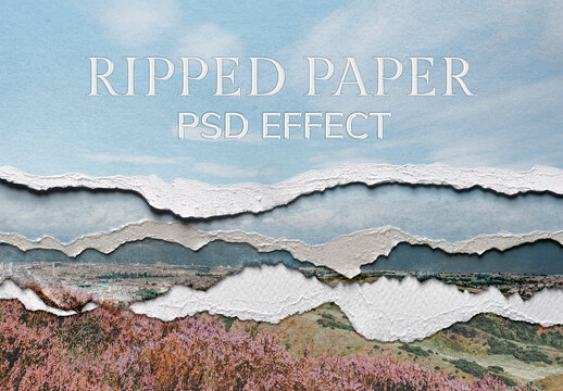 Skyscape with Ripped Paper Texture Effect