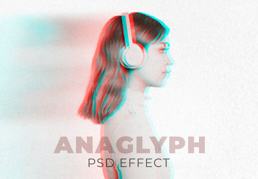 Woman with Anaglyph Effect