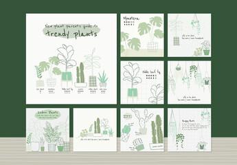 Fototapeta Houseplant Botanical Template Set for Social Media obraz