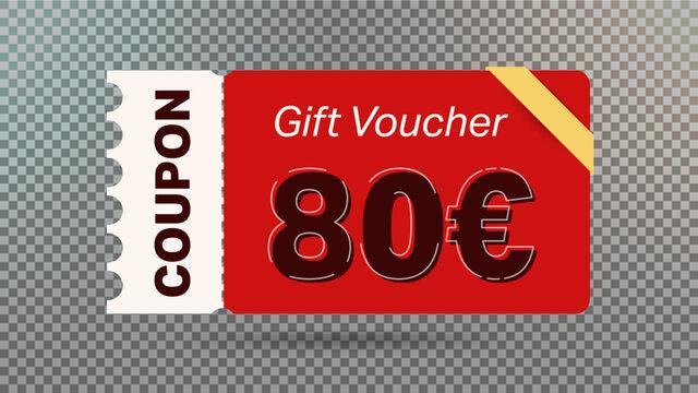 80 euro coupon promotion sale for website, internet ads, social media.Big sale and super sale coupon code euro 80 discount gift voucher coupon vector illustration summer offer ends weekend