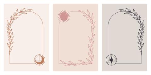 Ręcznie rysowane roślinne ramki z księżycem, słońcem i z gwiazdą. Dekoracyjne magiczne elementy na zaproszenia ślubne, karty, vouchery, ulotki, tło na blog lub dla social media story.