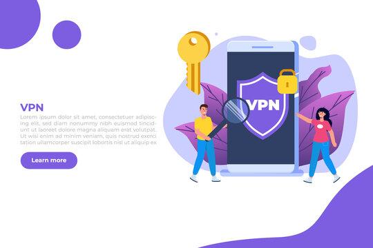 VPN, Virtual Private Network Mobile  service concept.  Protect personal data. Vector illustration