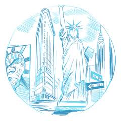 Szkic miasta Nowy Jork na białym tle