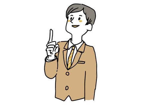 上を指差しているスーツの男性