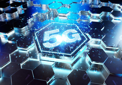 5G icon concept engraved on metal hexagonal pedestral background. Wireless technology logo glowing on abstract digital surface. 3d rendering