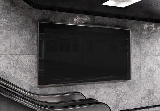 Panoramic 2:1 billboard on underground wall Mockup. Hoarding advertising on train station wall escalator 3D rendering