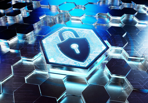 Web security icon concept engraved on metal hexagonal pedestral background. Padlock Logo glowing on abstract digital surface. 3d rendering