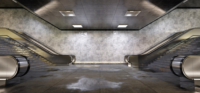 Realistic underground subway station Background with wet floors. Futuristic metro interior with lights and escalators. 3D Rendering