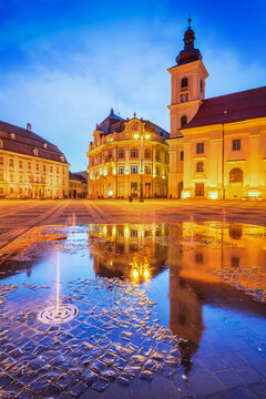 Sibiu, Transylvania, Romania - Night scene with Large Square