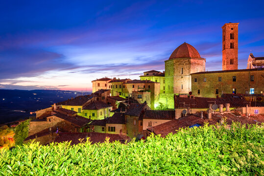 Volterra, Tuscany - Nightscene panoramic view of old Tuscan town in Italy.