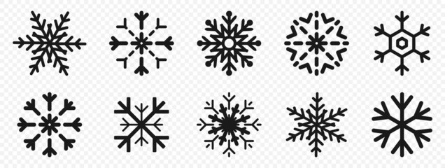 Snowflakes. Snowflakes in flat design. Black snowflake. Snowflakes, isolated. Vector illustration