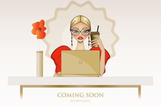 Vector illustration for Coming Soon and Under Construction Page with fashion girl, her laptop, and red poppy. Feminine red and gold web page template for fashion and beauty blog.