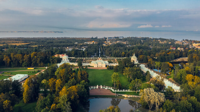 Aerial view of Menshikovskiy Palace in Lomonosov. It is Grand imperial estate with 18th-century palace