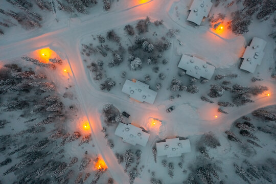 cottages in Lapland, winter evening