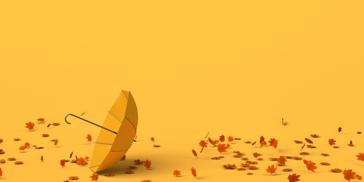 Umbrella on the ground by the air and autumn leaves. Copy space. 3D illustration.