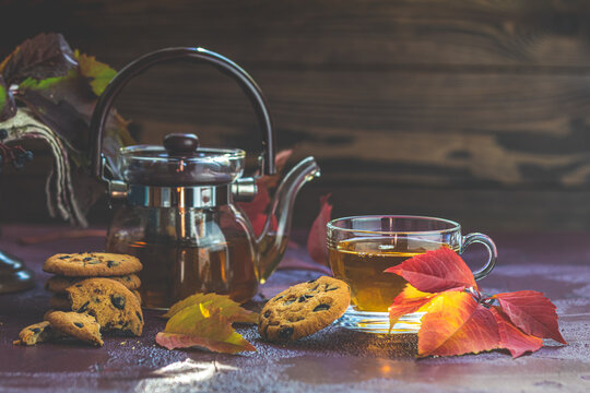 Autumn teatime composition on dark background with colored leaves and chocolate cookies, sun light beam on the cup