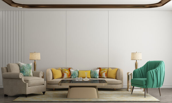 Home and decoration and elegant living room interior and empty wall texture background. 3D rendering