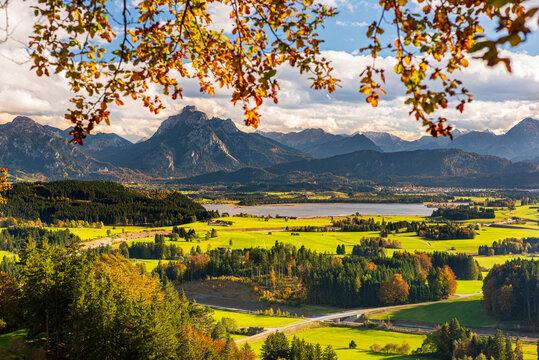 panoramic landscape at autumn in region Allgaeu in Bavaria