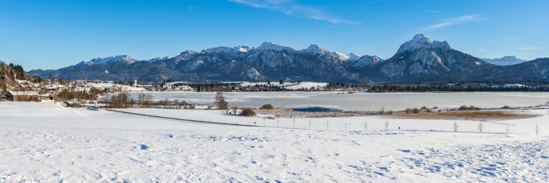 panoramic landscape in region Allgaeu in Bavaria at winter