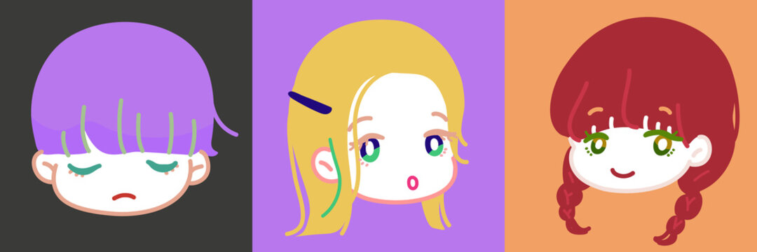 ゆるくて可愛い、プロフィールアイコンにぴったりな女の子のデフォルメイラスト