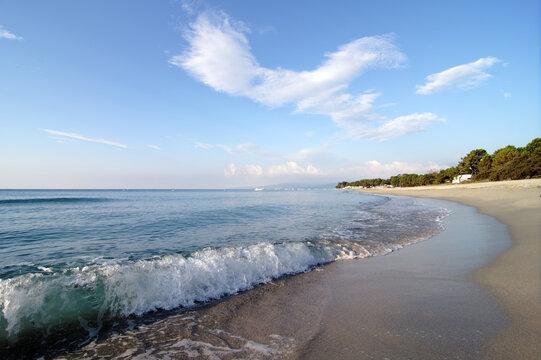 Guisonaccia beach in eastern coast of Corsica