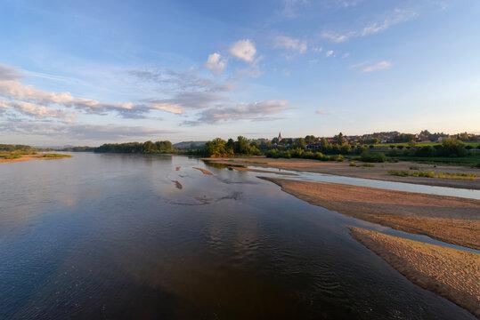Sandbank in the Loire  river. Pouilly-sur-Loire village