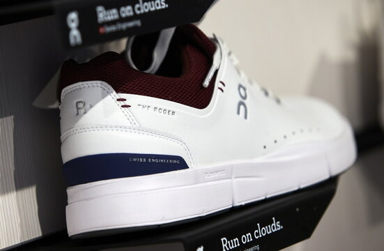 Shoe model by ON is pictured ahead of the Initial Public Offering (IPO)