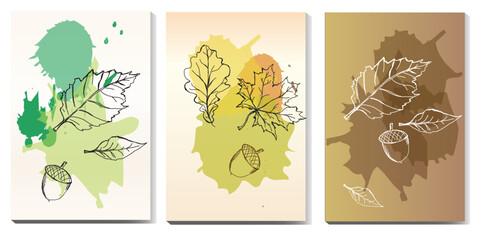 Fototapeta Baner liście, jesień baner, ulotka witaj jesień ulotka liście, akwarela, rysunek, szkic , jesienny, brązy, żołędzie, farba, szkic liści,  obraz