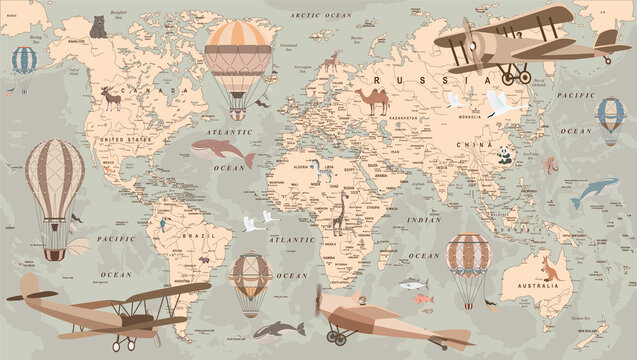childrens retro world map with balloons and animals