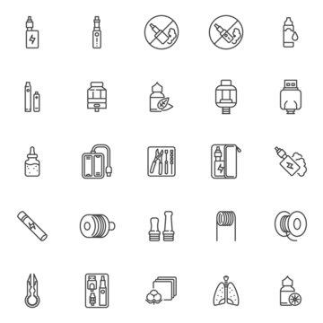 Vaping electronic cigarettes line icons set