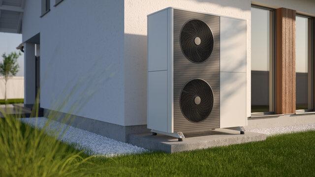 Air heat pump beside house, 3D illustration