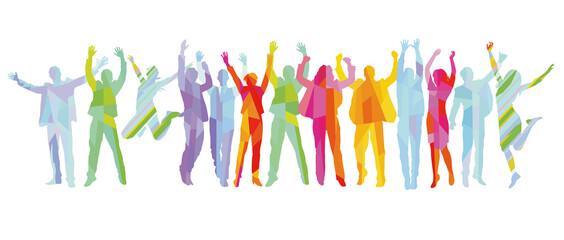 Fröhliche und erfolgreiche Menschen jubeln und sind zuversichtlich,  illustration