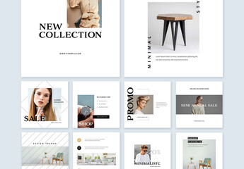 Fototapeta Modern Collection of Minimal Social Media Layouts obraz