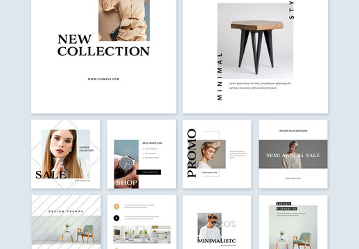 Modern Collection of Minimal Social Media Layouts