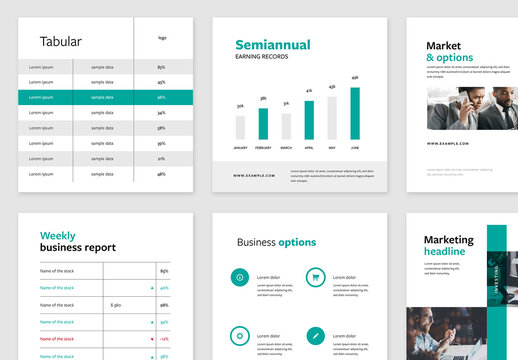6 Clean Business Layouts with Turquoise Accent