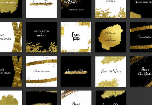 Wedding Invitation Layouts with Gold Textures for Social Media
