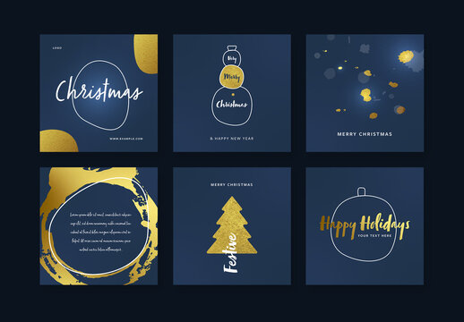 Blue and Gold Christmas Layouts for Social Media