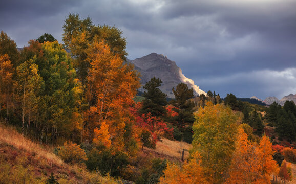 Scenic autumn landscape with Autumn trees against mountain peak and cloudy sky in San Juan mountains, Colorado.
