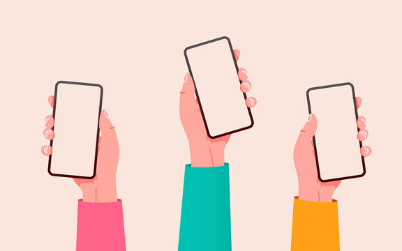 Flat vector hands with phones. Hands holding phones with empty screens mock up. Social media interaction. Social network communication