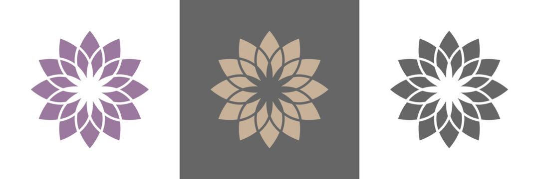 Abstrakte Lotusblüte Vektor Logos naturfarben