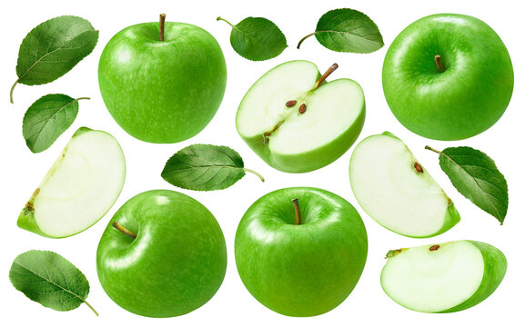 Green apples set isolated on white background. Whole fruit , slices and leaves. Package design elements with clipping path