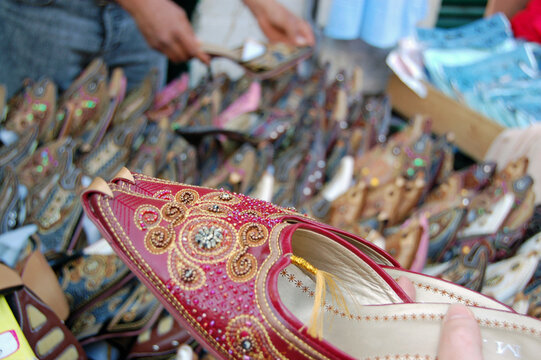Traditional shoes on sale in Tripoli, Libya
