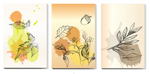 Obraz Liście jesienne, Jesień , akwarela,  Liście - fototapety do salonu
