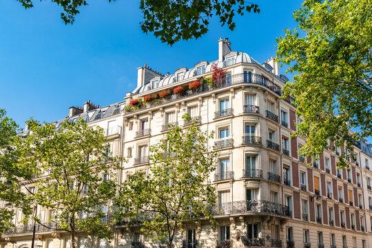 Paris, beautiful buildings, boulevard Voltaire in the 11e district